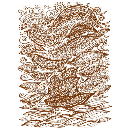 Ship in the sea and storm. Graphic illustration of a boat. Paisley doodle tattoo style. Travel and adventure. Coloring pages for adult.