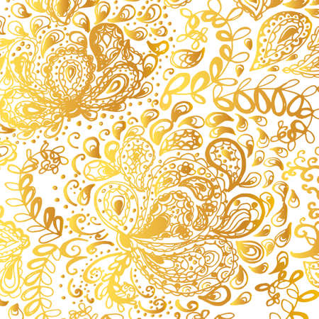 gold floral: Floral doodle tattoo design. Illustration with paisley ornaments. Hand-drawn flowers. Gold color.