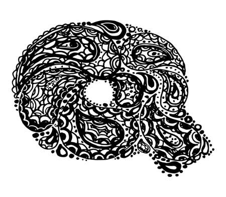 Letter Q. Decorative Alphabet with a paisley zen doodle tattoo ornaments filling. Display font and numbers. Hand drawn letters in vintage style. Used for quote lettering. Illustration