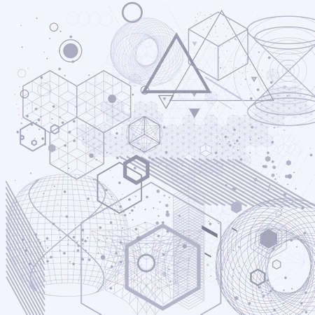 Sacred geometry symbols and elements background. Cosmic, universe, bing bang, alchemy, religion, philosophy, astrology, science, physics, chemistry and spirituality themes.