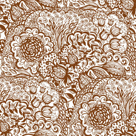 Floral doodle seamless wallpaper pattern. Illustration with paisley ornaments. Textile with hand-drawn flowers. Illustration