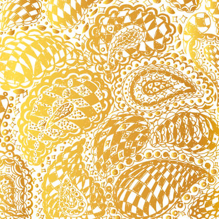 Checkered doodle tattoo background. Illustration with paisley ornaments. Hand-drawn flowers. Universal backdrop for everything. Gold color. Illustration