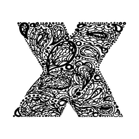 Letter X. Decorative Alphabet with a paisley zen doodle tattoo ornaments filling. Display font and numbers. Hand drawn letters in vintage style. Used for quote lettering.