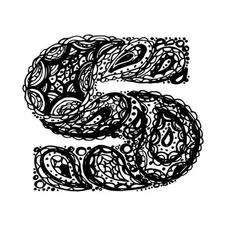 Letter S. Decorative Alphabet with a paisley zen doodle tattoo ornaments filling. Display font and numbers. Hand drawn letters in vintage style. Used for quote lettering.