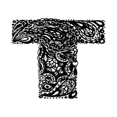 Letter T. Decorative Alphabet with a paisley zen doodle tattoo ornaments filling. Display font and numbers. Hand drawn letters in vintage style. Used for quote lettering.