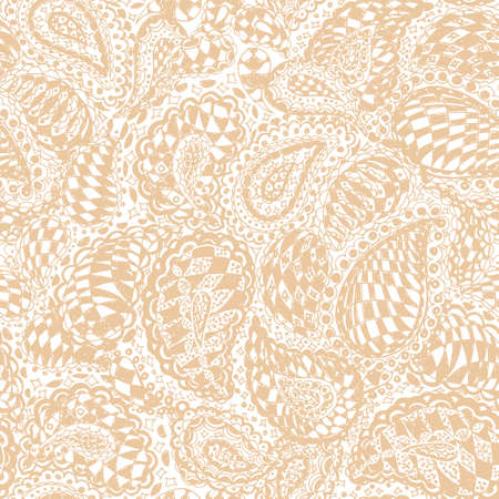 Geometric doodle seamless wallpaper pattern. Illustration with paisley ornaments and chess texture. Textile with hand-drawn checker elements. Illustration