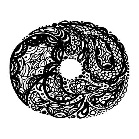Letter O. Decorative Alphabet with a paisley zen doodle tattoo ornaments filling. Display font and numbers. Hand drawn letters in vintage style. Used for quote lettering.