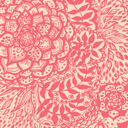 Floral doodle tattoo background. Illustration with paisley ornaments. Hand-drawn flowers. Universal backdrop for everything. Illustration