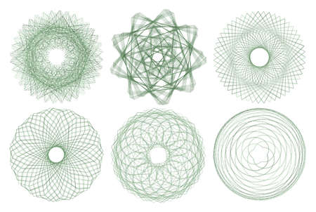 Sacred geometry symbol. Alchemy, religion, philosophy, astrology and spirituality themes. Abstract lines in circle. Set 9 in 1. Collection of elements. Illustration