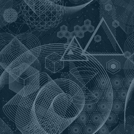 Seamless wallpaper pattern. The science and mathematics abstract background with circles, cube, triangles and a lot of lines. Sacred geometry backdrop. The chemistry and astrology.