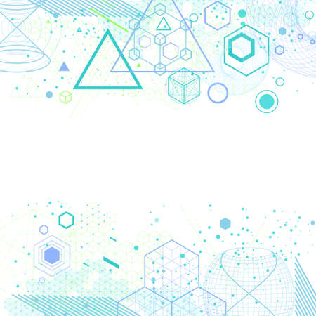 The science and mathematics abstract background with circles, cube, triangles and a lot of lines. Sacred geometry backdrop. The chemistry and astrology. Graphic elements for identity design. Stock Vector - 67943429