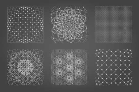 Sacred geometry background set. 6 in 1.  Cosmic, universe, big bang, alchemy, religion, philosophy, astrology, science, physics, chemistry and spirituality themes. Matter, space, time. 일러스트
