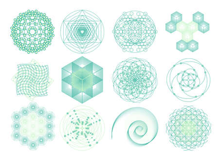 Sacred geometry symbols and elements set. 12 in 1.  Cosmic, universe, big bang, alchemy, religion, philosophy, astrology, science, physics, chemistry and spirituality themes. Matter, space, time. 일러스트