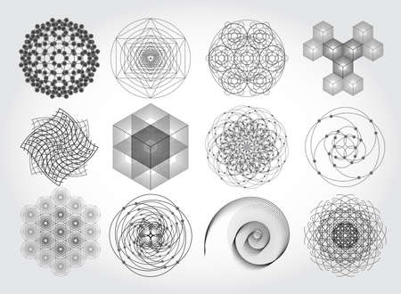 Sacred geometry symbols and elements set. 12 in 1.  Cosmic, universe, big bang, alchemy, religion, philosophy, astrology, science, physics, chemistry and spirituality themes. Matter, space, time. Illustration