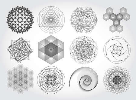 Heilige geometrie symbolen en elementen. 12 in 1. Cosmic, heelal, grote klap, alchemie, religie, filosofie, astrologie, wetenschap, natuurkunde, scheikunde en spiritualiteit thema's. Materie, ruimte, tijd.
