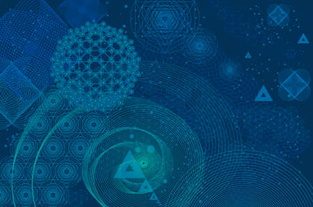 Sacred geometry symbols and elements background. Cosmic, universe, big bang, alchemy, religion, philosophy, astrology, science, physics, chemistry and spirituality themes. Matter, space, time. Stock Vector - 68973116