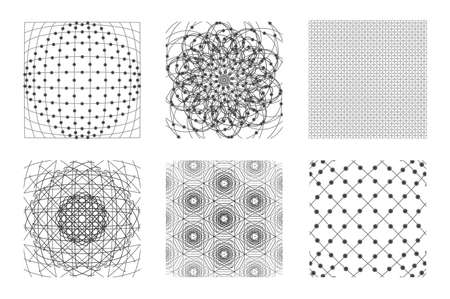 Sacred geometry background set. 6 in 1.  Cosmic, universe, big bang, alchemy, religion, philosophy, astrology, science, physics, chemistry and spirituality themes. Matter, space, time. Stock Photo