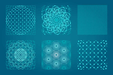 Sacred geometry background set. 6 in 1.  Cosmic, universe, big bang, alchemy, religion, philosophy, astrology, science, physics, chemistry and spirituality themes. Matter, space, time. Stock Photo - 69637768