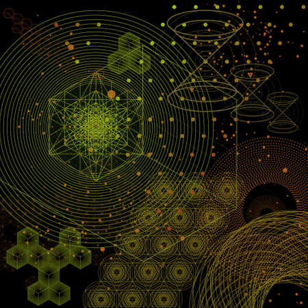 The science and mathematics abstract background with circles, cube, triangles and a lot of lines. Sacred geometry backdrop. The chemistry and astrology. Graphic elements for identity design. 스톡 콘텐츠 - 116000177