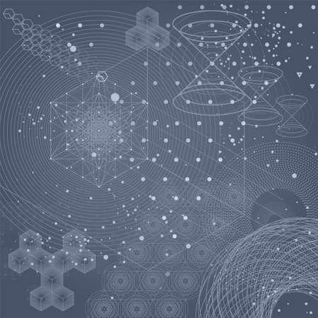 Heilige Geometriesymbole und Elementhintergrund. Kosmisches Universum Urknall Alchemie Religion Philosophie Astrologie Wissenschaft Physik Chemie und Spiritualität Themen. Magische Zeichen. Vektorgrafik