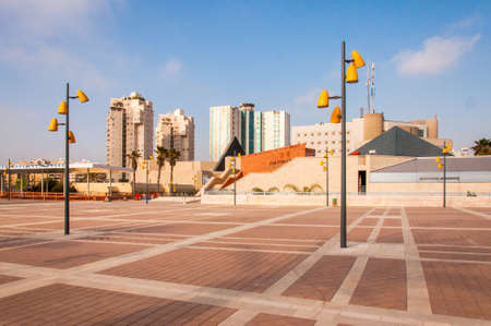 Ashdod, Israel - May 09, 2012: The squаrе near Museum of Art that is located in the center of Ashdod, Israel. The museum holds exhibitions of Israeli and international contemporary art.
