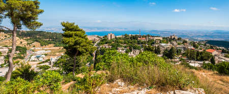 Panoramic view on North Galilee nature, Safed cityscape and Kinneret Lake in Israel