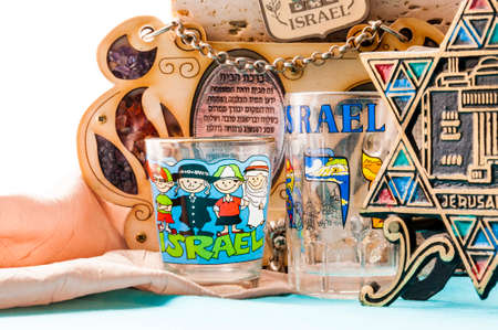 Vilnius, Lithuania: On this studio shot that was made in Vilnius, Lithuania you can see a several examples of the Jewish traditional attributes, souvenirs, mascots in one collection. Stock Photo