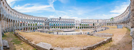 Pula, Croatia: Super wide angle inside panorama of Amphitheater or Pula Arena. The most famous and important monument in Pula, popularly called the Arena of Pula
