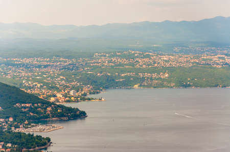 Panorama view from Istria mountains on Lovran Opatija and Rijeka, Eastern coast of Istria, North Croatia. Stock Photo