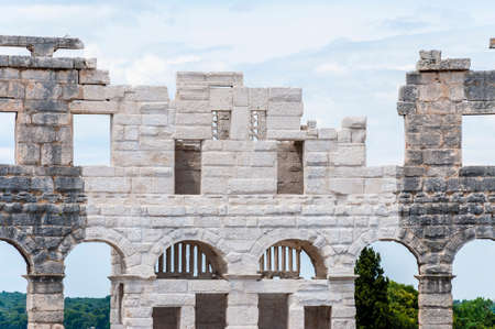 Pula, Croatia: New reconstructed facade wall in Pula Arena. The most famous and important monument in Pula, popularly called the Arena of Pula, which was once the site of gladiator fights