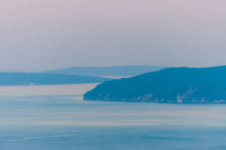 Direction to Cres and Krk islands. Sunset on Adriatic Sea. Amazing Istria, Croatia.