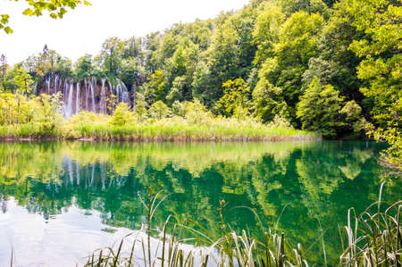 Plitvice Lakes National Park is one of the oldest and the largest national park in Croatia. Stock Photo