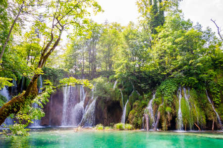 Scenic waterfalls landscape in Plitvice National Park in Croatia Stock fotó
