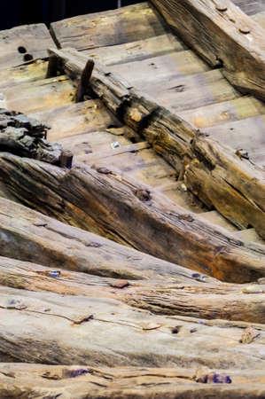 Broken wooden frame of medieval sailing ship nautical vessel Archivio Fotografico
