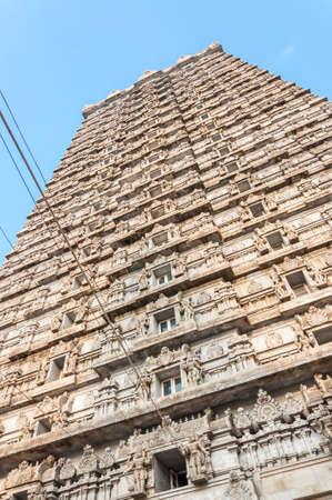 Murudeshwar, Karnataka, India: Facade art of the Gopura that is a monumental tower at the entrance of Murudeshwar Temple.