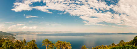 Panorama above the Adriatic Sea Bay in Norhtern Croatia. Istria is the largest peninsula in the Adriatic Sea.