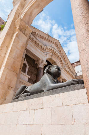 Split, Сroatia: Sphinx. Ancient sculpture. Medieval architecture. Split. Apparently, Emperor Diocletian was a great lover of Egypt and he acquired dozens granite sphinxes from Luxor.