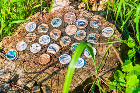 Vilnius, Lithuania - July 07, 2012: Various beer companies bottle caps stuck in a tree stump Éditoriale