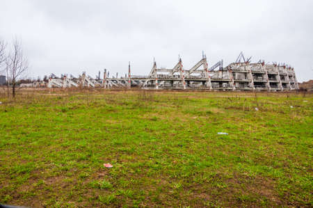Abandoned stadium concrete reinforcement foundation construction frame shapes