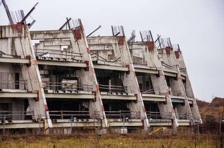 Abandoned stadium concrete reinforcement foundation construction frame shapes