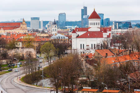 Vilnius, Lithuania: Cityscape view on Russian Orthodox Cathedral of the Dormition of the Theotokos and other parts of Old and New Town of Vilnius, Lithuania