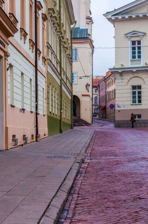 Vilnius, Lithuania: Stylish and cozy Universiteto street in Old Town of Vilnius. Classical European architecture street design