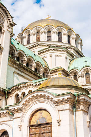 Alexander Nevsky Cathedral is one of the largest Eastern Orthodox cathedrals in the world. The cathedrals gold-plated dome with the bell tower reaching 50.52 m. Stock fotó