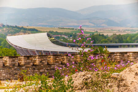 Scenic view on modern stadium in Skopje which called Philip II National Arena with rocky land full of growing blooming red common poppies on foreground 版權商用圖片