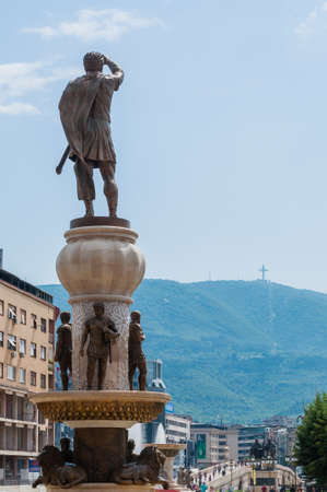 Skopje, Macedonia - June 10, 2013: A giant 29-meter tall bronze statue of the ancient warrior king, Philip Second of Macedon, father of Alexander the Great standing in the heart of Skopje Editorial