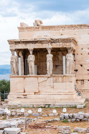 The Northern porch, Erechtheion or Erechtheum temple on Acropolis hill. Honoring Athena & Poseidon, this famous, ancient Greek temple features a porch with 6 caryatids. Stock fotó
