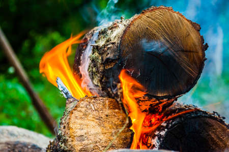 Hot vibrant flame of the burning firewood logs lying on outdoor fireplace Banco de Imagens