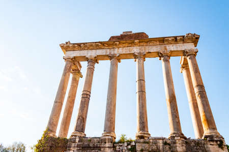 Rome, Italy: The Temple of Saturn was an ancient Roman temple to the god Saturn. Its ruins stand at the foot of the Capitoline Hill at the western end of the Roman Forum