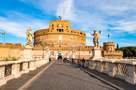 Rome, Italy - November 17, 2018: View on Ponte SantAngelo, Aelian Bridge or Pons Aelius, Bridge of Hadrian with famous Castel SantAngelo, Castle of the Holy Angel or Mausoleum of Hadrian in the end