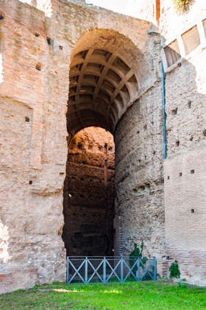 Rome, Italy - November 17, 2018: Arches gallery hall in Domus Severiana which is the modern name given to the final extension to the imperial palaces on the Palatine Hill in Rome Redakční